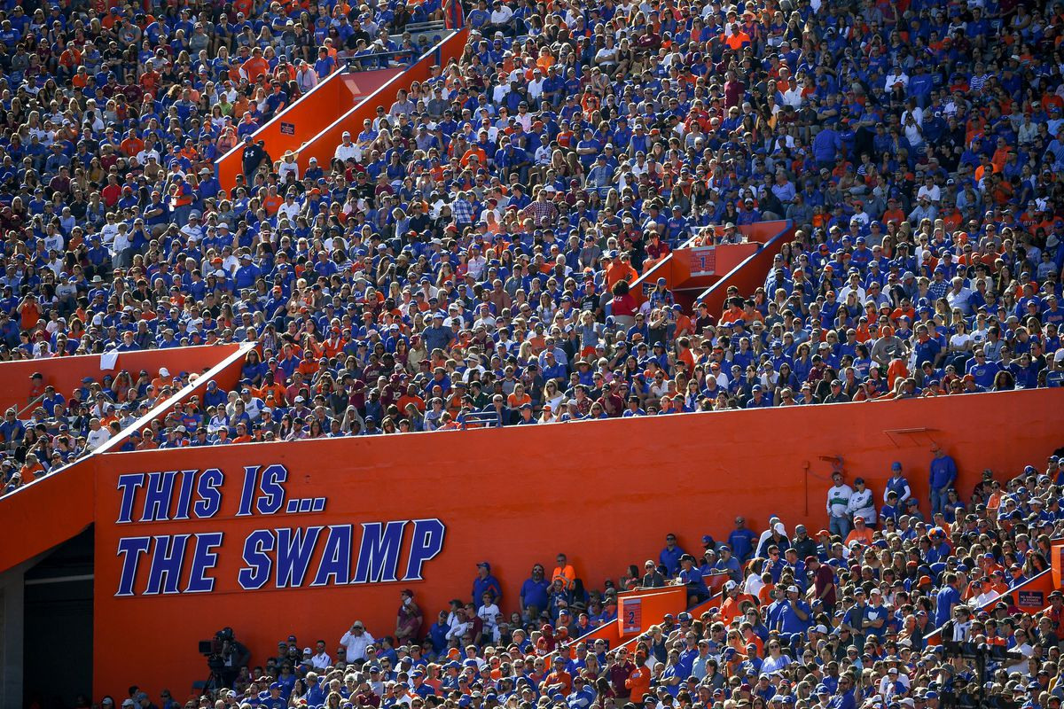A detailed view of The Is The Swamp signage at Ben Hill Griffin Stadium before the game between the Florida Gators and the Florida State Seminoles on November 25, 2017 in Gainesville, Florida.