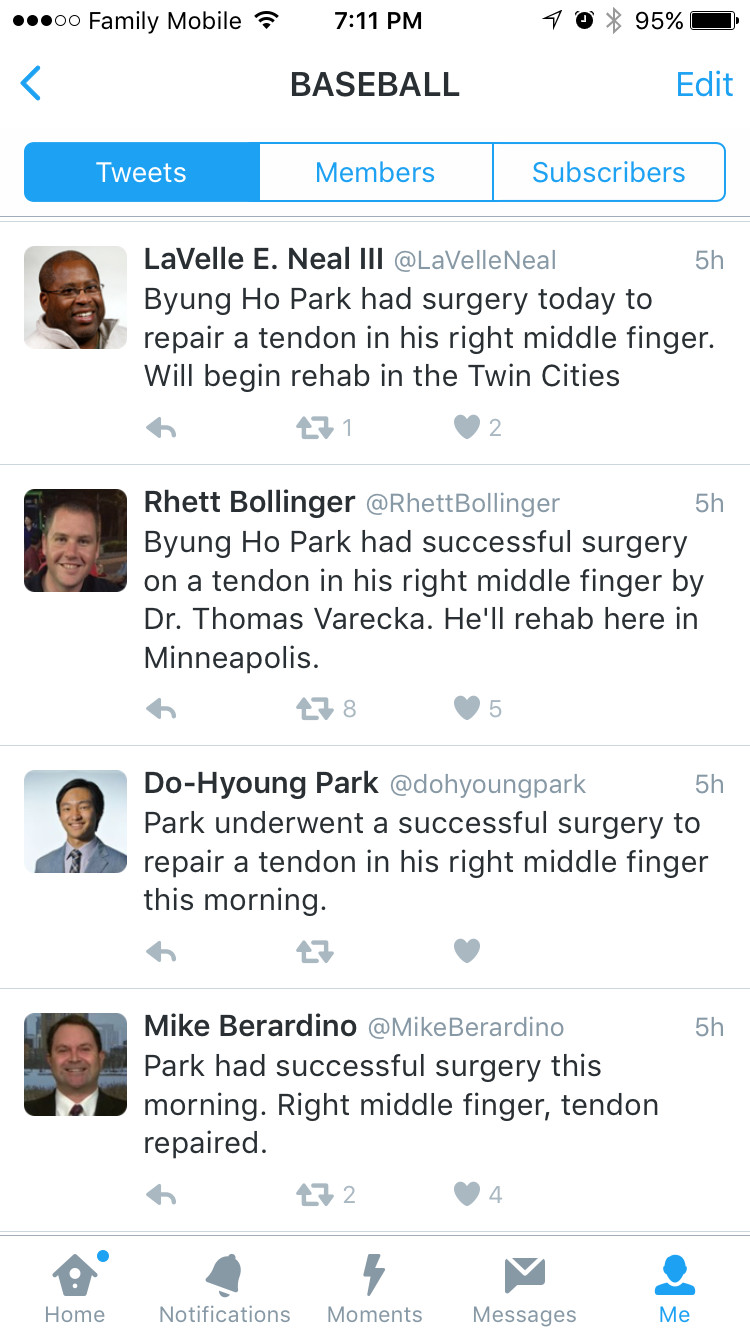 Reporters report Byung Ho Park's successful surgery.