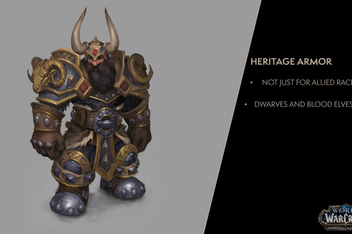 blood elves and dwarves getting heritage armor in world of warcraft