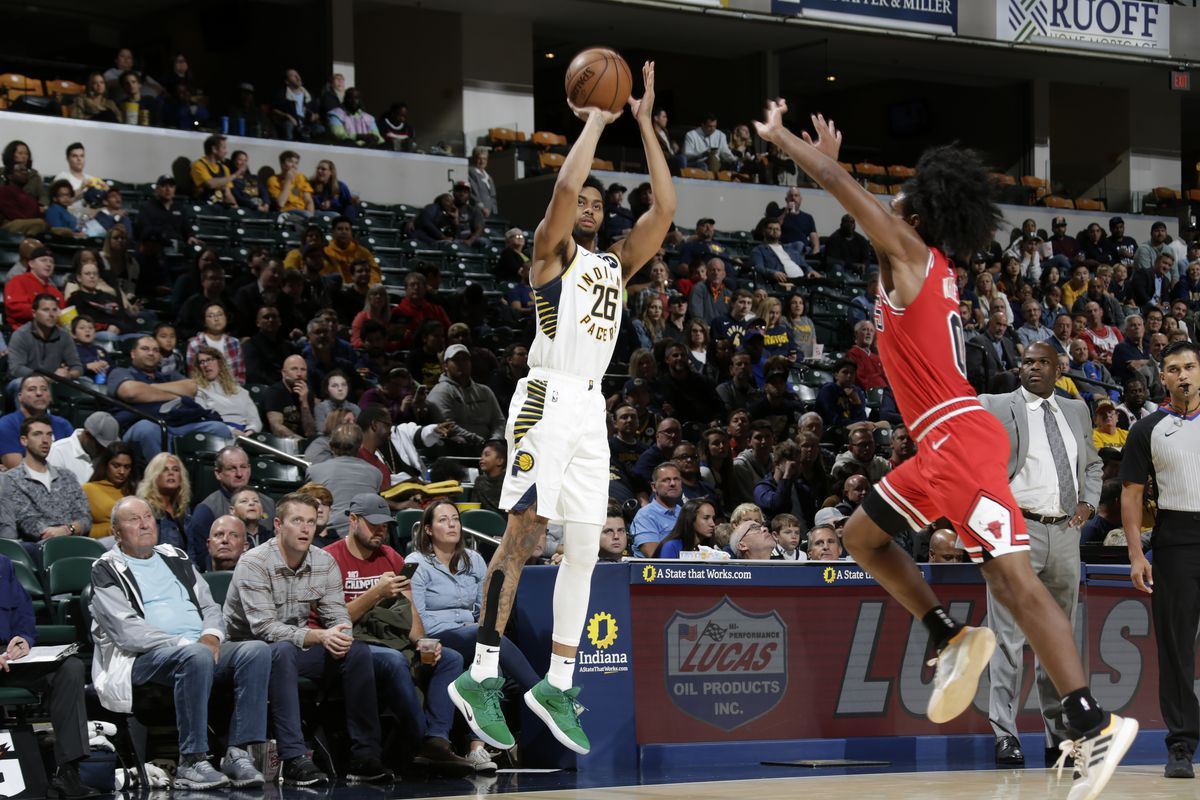 Kyle Korver of the Milwaukee Bucks shoots the ball against the Indiana Pacers during a pre-season game on October 11, 2019 at Bankers Life Fieldhouse in Indianapolis, Indiana.