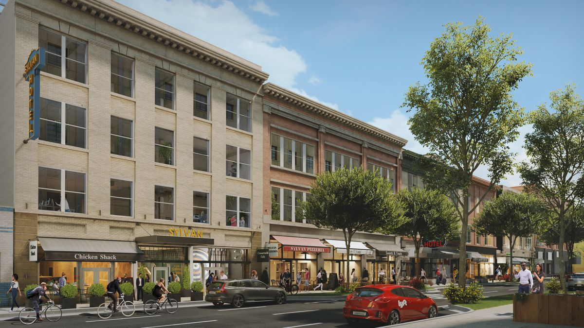 Rendering of Hotel Row looking toward the state capitol