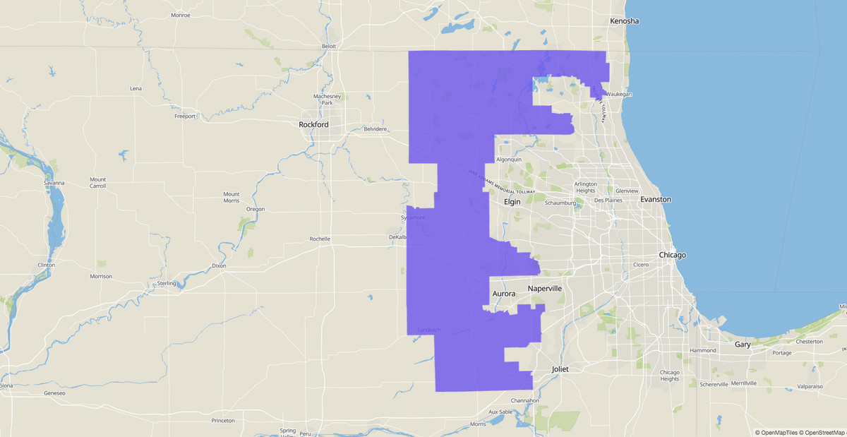 14th Congressional District map, Illinois, U.S. House of Representatives