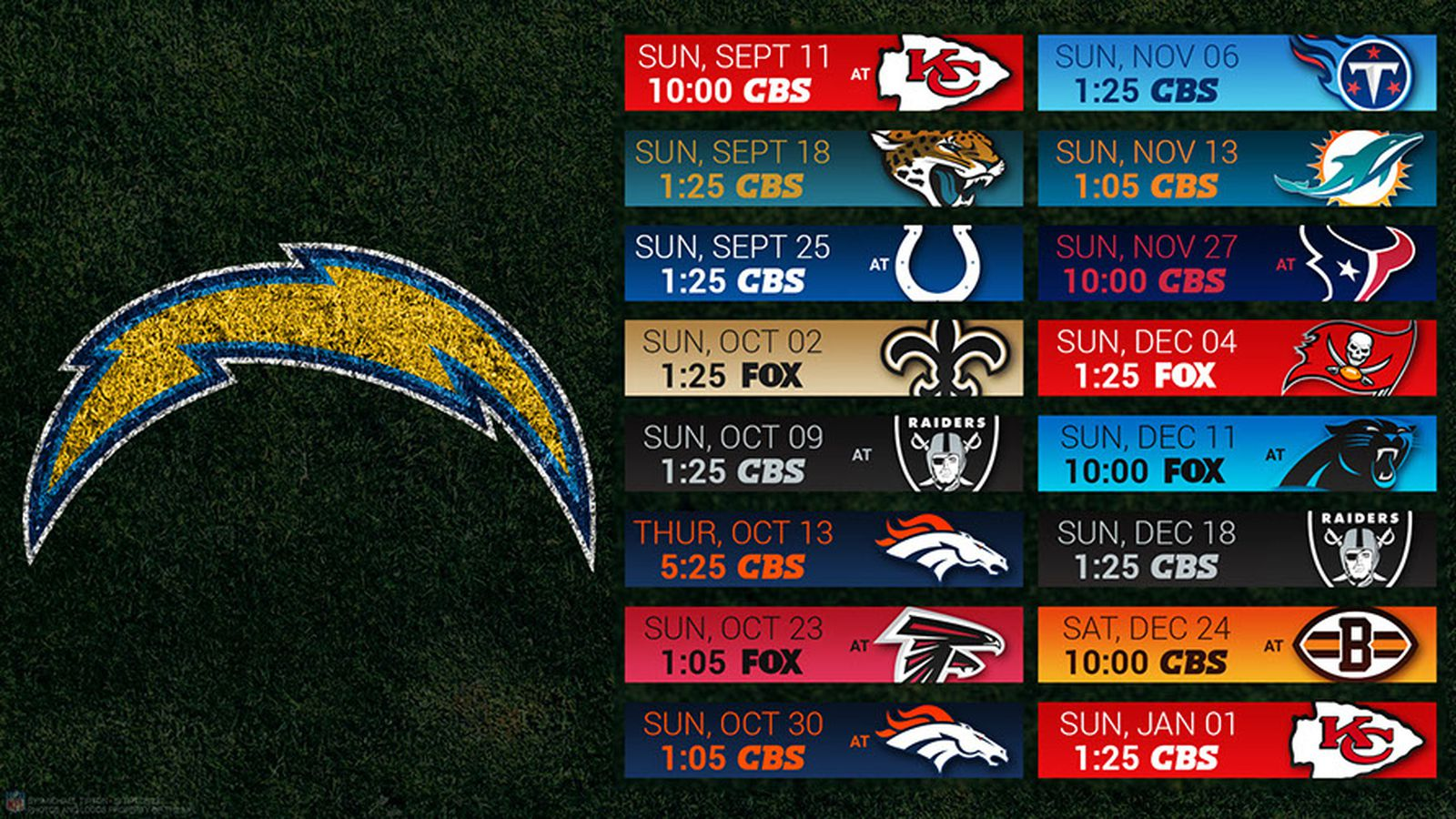 Chargers 2016 Schedule Wallpaper Bolts From The Blue