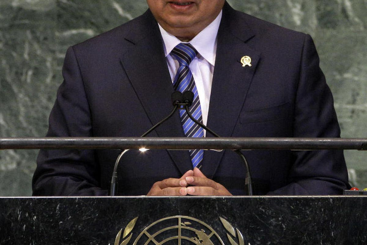 President of Indonesia Susilo Bambang Yudhoyono  addresses the 67th session of the United Nations General Assembly,  Tuesday, Sept. 25, 2012.