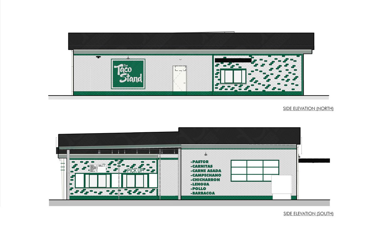 an architectural rendering of a taco stand with a drive-thru window