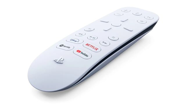 PS5 media remote with buttons for Disney Plus, Netflix, Spotify, and YouTube