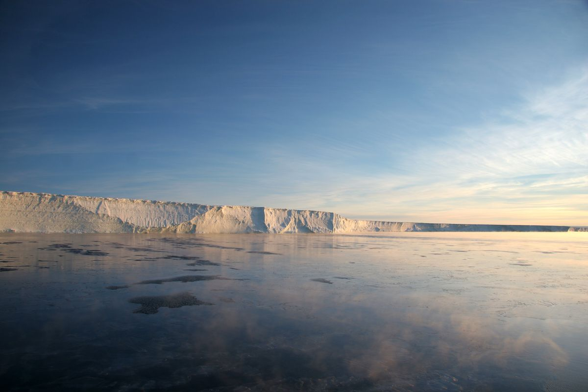 The Stange ice shelf in the Ronne Entrance, Southern Bellingshausen Sea along the Antarctic peninsula.