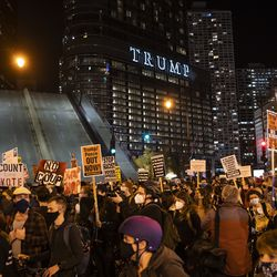 At least 1,000 protesters march through the Loop to demand every vote be counted in the general election, Wednesday night, Nov. 4, 2020. The Wabash Avenue Bridge was raised to stop protesters from reaching Trump Tower.