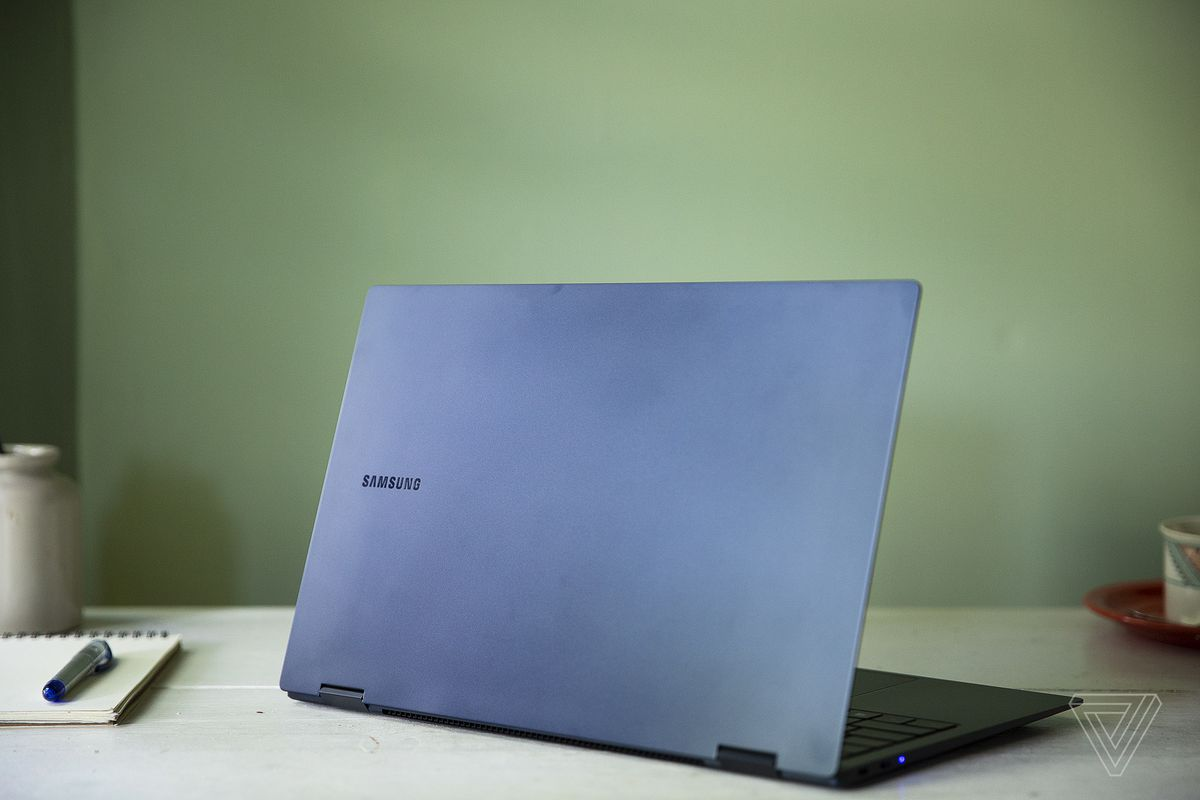 The Samsung Galaxy Book Pro 360 (15-inch) open, seen from the back, angled slightly to the left.