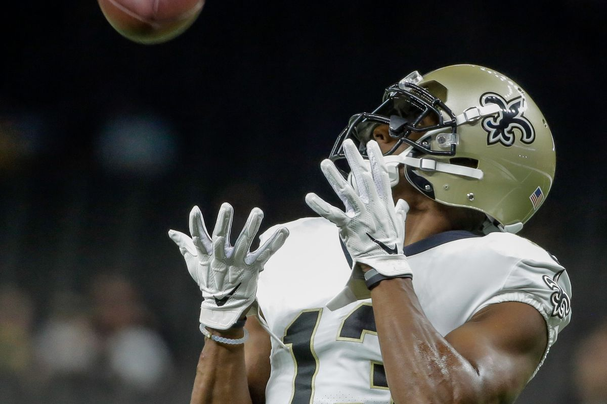 New Orleans Saints wide receiver Michael Thomas during warm ups prior to a preseason game against the Minnesota Vikings at the Mercedes-Benz Superdome.