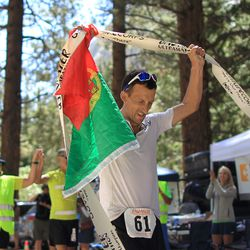 Carlos Alberto Gomas De Sa from Portugal, a first-time competitor in the event, reaches the finish line to win the AdventurCORPS Badwater 135