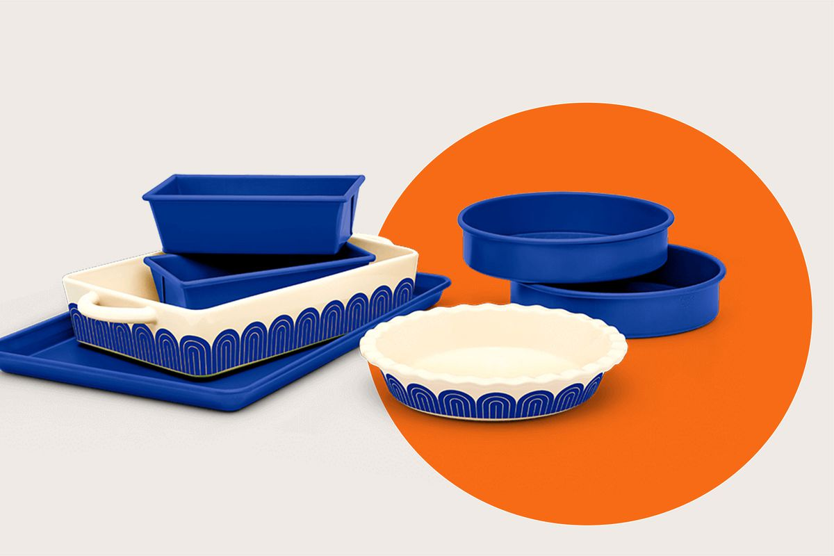 A set of blue and blue and white baking pans