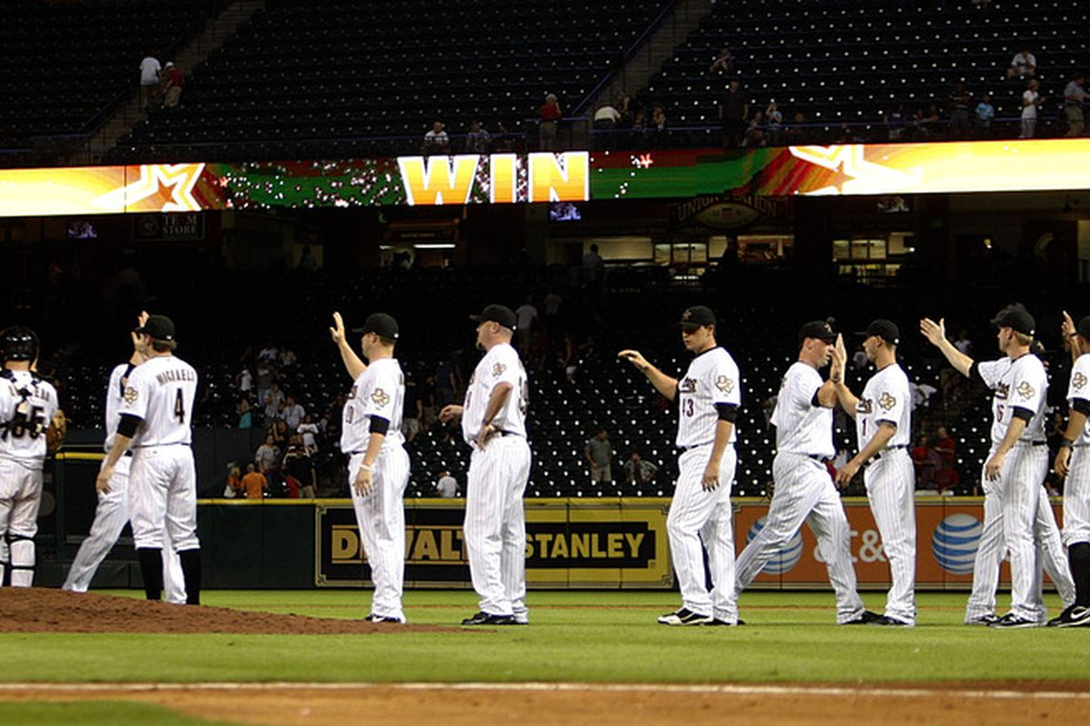 HOUSTON - AUGUST 03:  Houston Astros defeat the Cincinnati Reds 5-4 at Minute Maid Park on August 3, 2011 in Houston, Texas.  (Photo by Bob Levey/Getty Images)