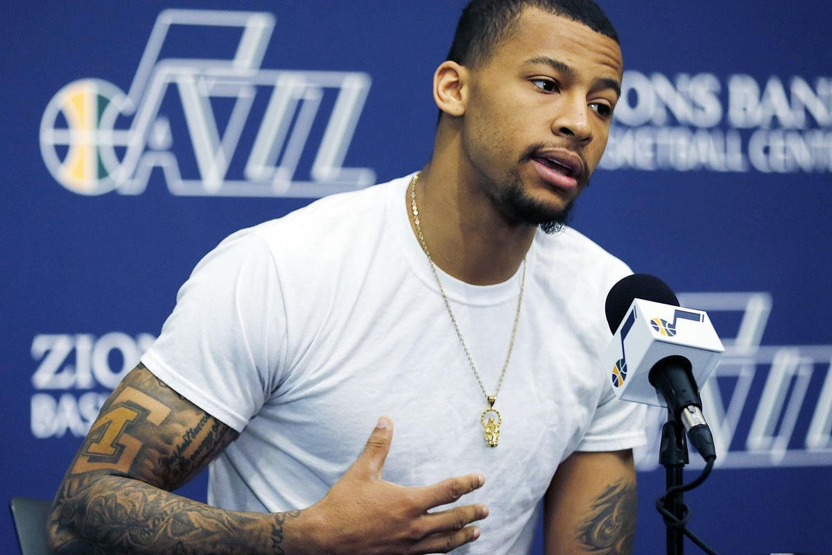 Trey Burke of the Utah Jazz answers questions during an end of season press conference at Zions Bank Basketball Center in Salt Lake City, Thursday, April 14, 2016.