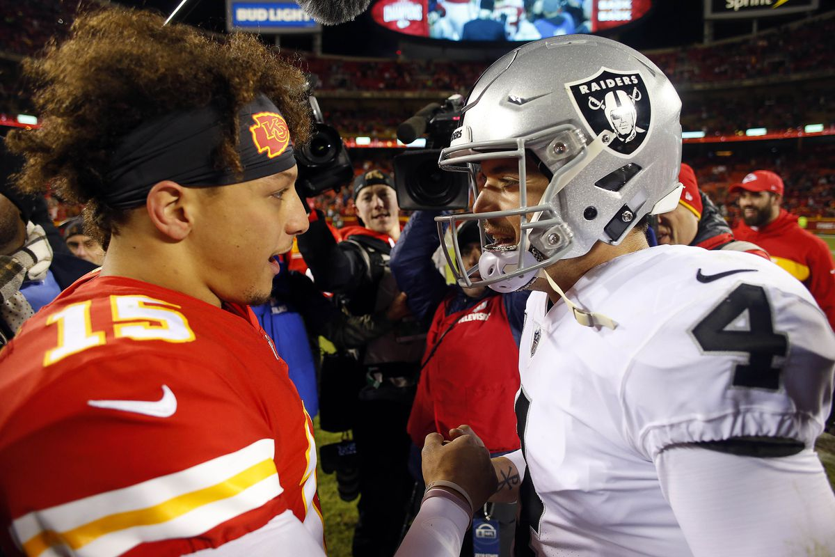 Quarterback Patrick Mahomes of the Kansas City Chiefs greets quarterback Derek Carr of the Oakland Raiders after the Chiefs defeated the Raiders 35-3 to win the game at Arrowhead Stadium on December 30, 2018 in Kansas City, Missouri.