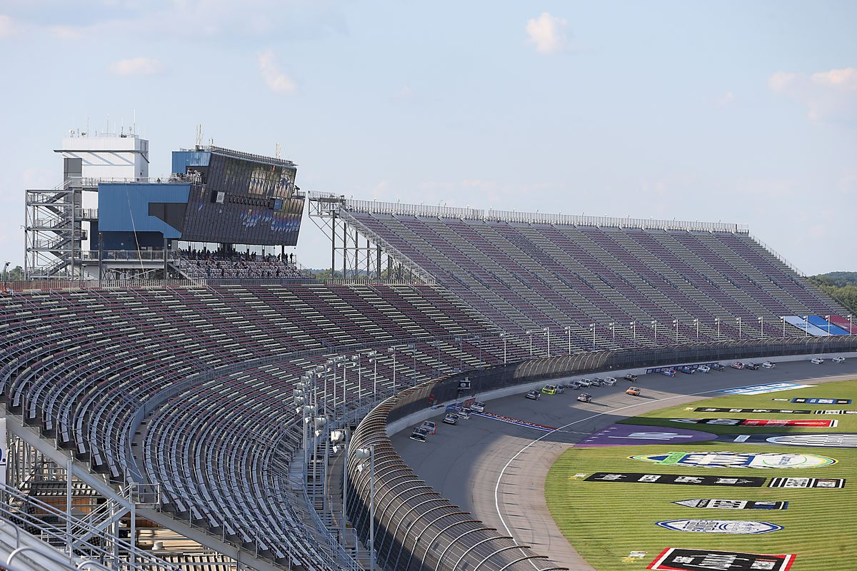 A general view of trucks racing during the NASCAR Gander RV & Outdoors Truck Series Henry Ford Health System 200 at Michigan International Speedway on August 07, 2020 in Brooklyn, Michigan.