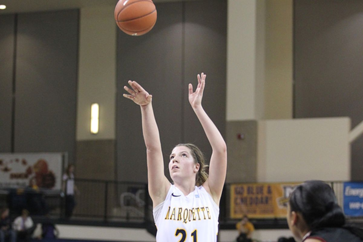 Katherine Plouffe went 6-6 from the line to help MU beat CMU.