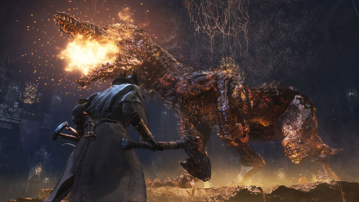 A character with an ax is attacked by a huge dragon in Bloodborne