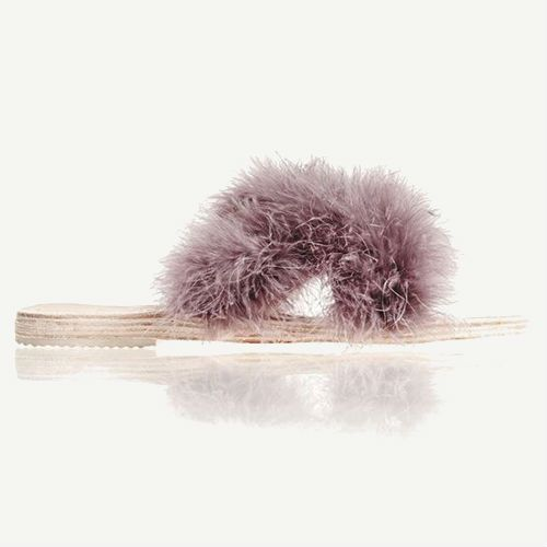 Light purple fur slide sandals.