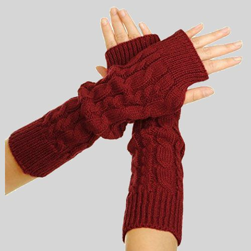 A pair of red cable knit fingerless gloves