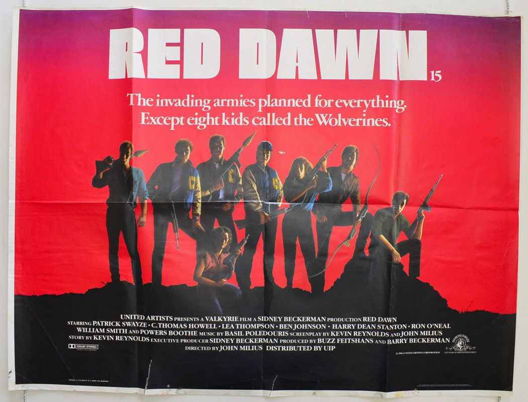 A poster for Red Dawn, the first film to be released with the MPAA's PG-13 rating in 1984.