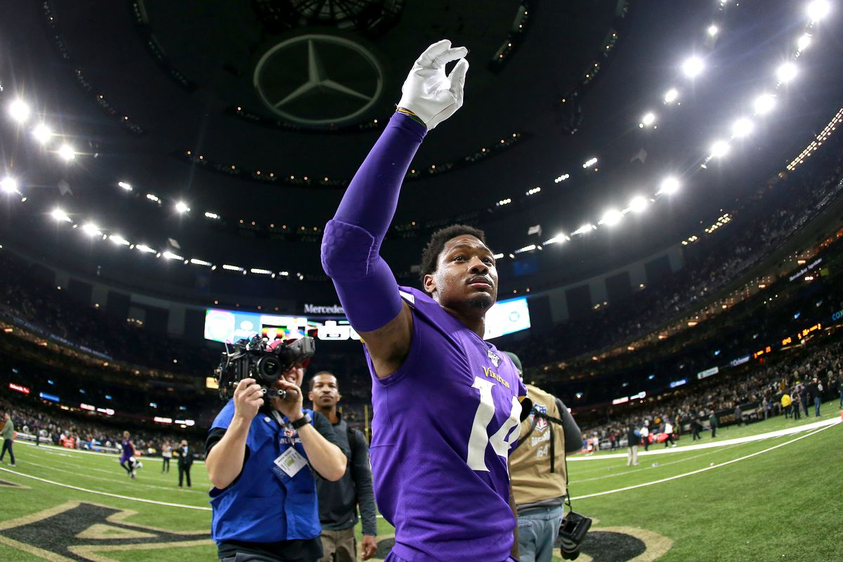 Stefon Diggs #14 of the Minnesota Vikings stands on the field after his defeated the New Orleans Saints during the NFC Wild Card Playoff game at Mercedes Benz Superdome on January 05, 2020 in New Orleans, Louisiana.