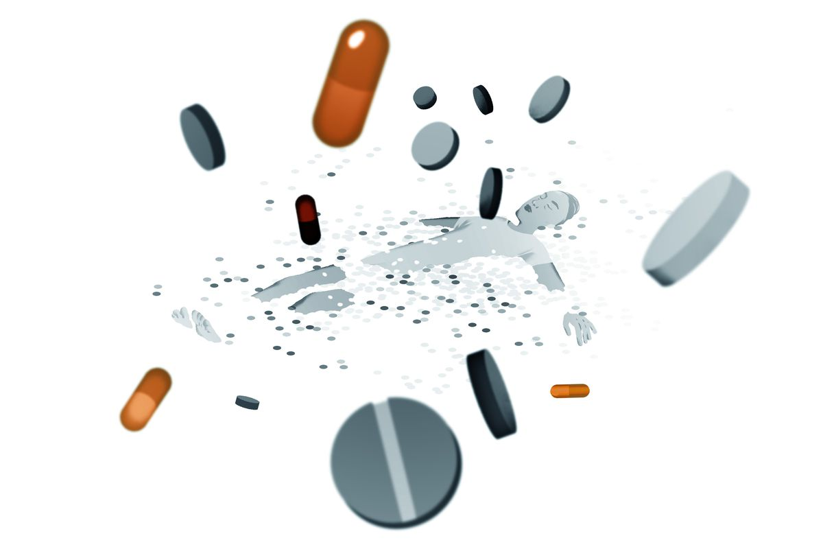 Illustration of person lying in a sea of pills