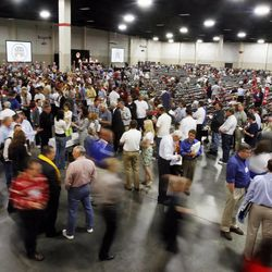 Delegates cast their votes during the 2011 Republican State Convention Saturday, June 18, 2011 at South Towne Exposition Center.