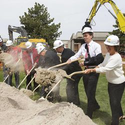 Officials of the University of Utah, members of the Huntsman family and Spence Eccles symbolically break ground Monday, May 5, 2014 on the new Jon M. and Karen Huntsman Basketball Center.