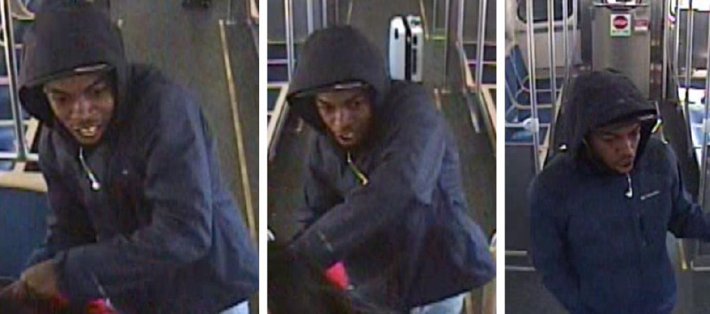 Surveillance image of a man police say tried to sexually assault a woman before robbing her April 1, 2021, on a Green Line train.