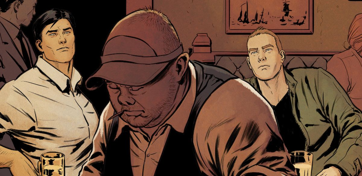 Bruce Wayne/Batman, Porky, and Chuck Brown/Kite-Man, in Porky's bar in Gotham City, in Batman #85, DC Comics (2019).
