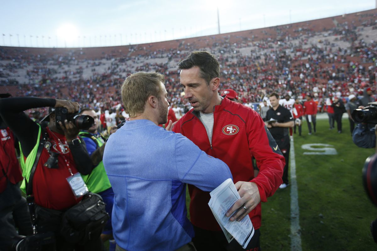49ers head coach Kyle Shanahan and Rams head coach Sean McVay meet in the middle of the field after their December 30, 2018 matchup at the Los Angeles Coliseum.
