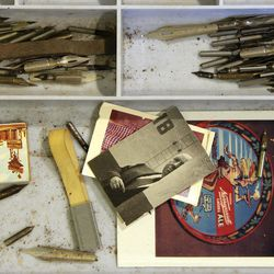 In this May 4, 2017, photo a tray of pen nibs and memorabilia once belonging to author and artist Theodor Seuss Geisel, also known by his pen name Dr. Seuss, is displayed at The Amazing World of Dr. Seuss Museum, in Springfield, Mass. The new museum devoted to Dr. Seuss opened on June 3 in his hometown.