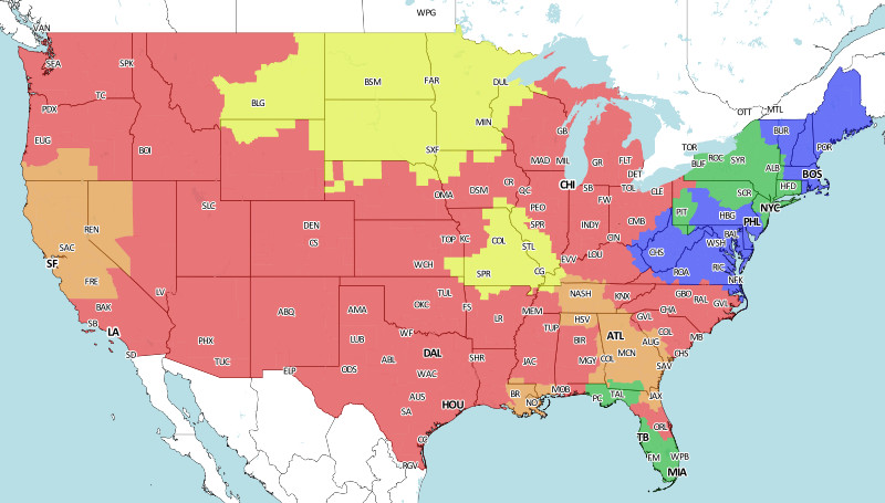 Week 9 NFL coverage map
