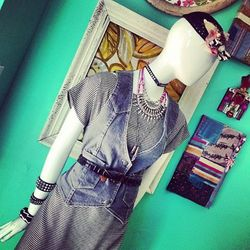 """From East Passyunk Avenue's <a href=""""https://www.facebook.com/pages/Nicole-Rae-Styer-Boutique/159651627453935"""">Nicole Rae Styer</a>: Houndstooth tunic, $65; studded bracelets, $30; embellished bird cage-style hat, $55; vintage denim vest, $30; Sultana Asc"""