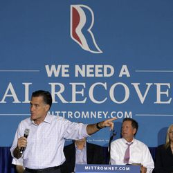 Republican presidential candidate, former Massachusetts Gov. Mitt Romney speaks at a campaign rally, Wednesday, Sept. 26, 2012, in Westerville, Ohio. Ohio Gov. John Kasich is second from right.