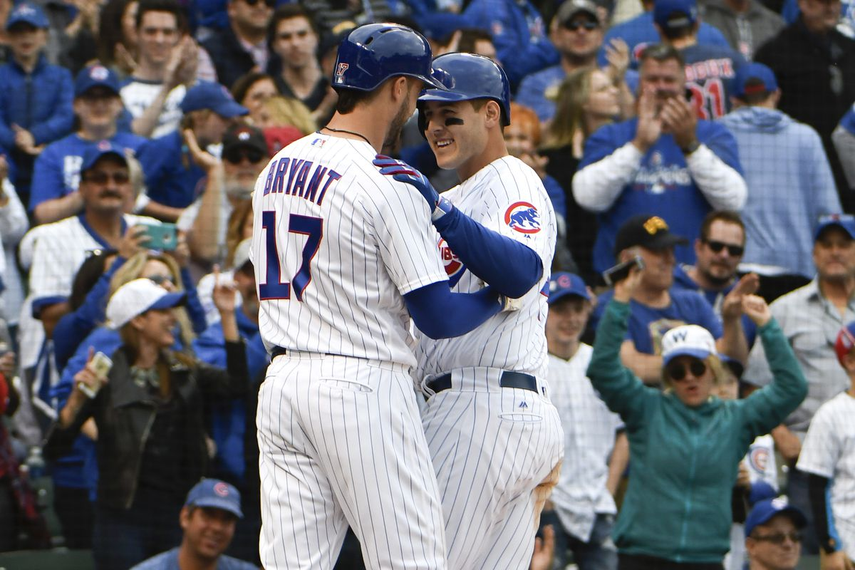 May 21, 2017; Chicago, IL, USA; Chicago Cubs first baseman Anthony Rizzo (44)  is greeted by  third baseman Kris Bryant (17) after hitting a two-run homer against the Milwaukee Brewers during the eighth inning at Wrigley Field. Mandatory Credit: David Banks-USA TODAY Sports
