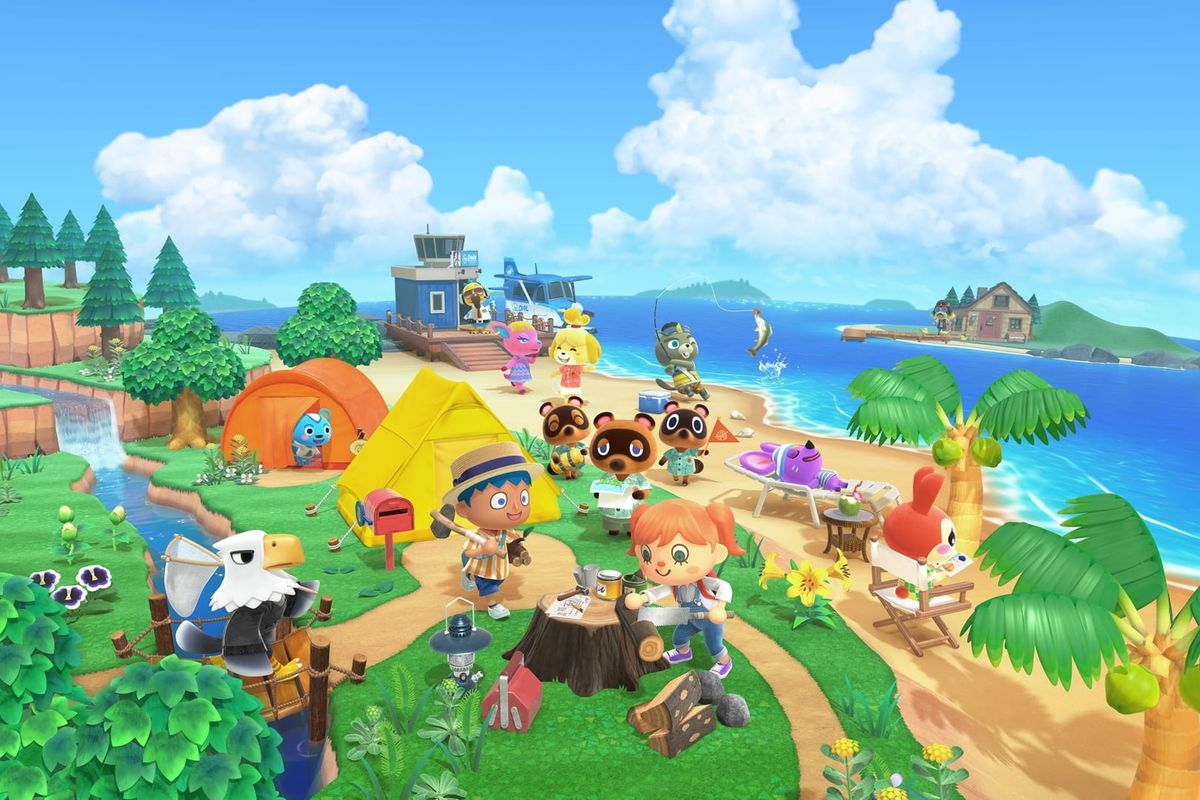 Artwork for Animal Crossing: New Horizons showing villagers crafting