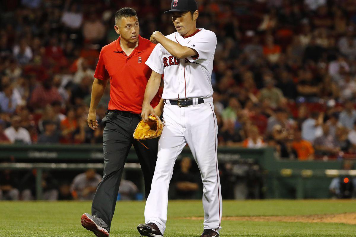 Koji Uehara leaves the mound with an injury July 19rh