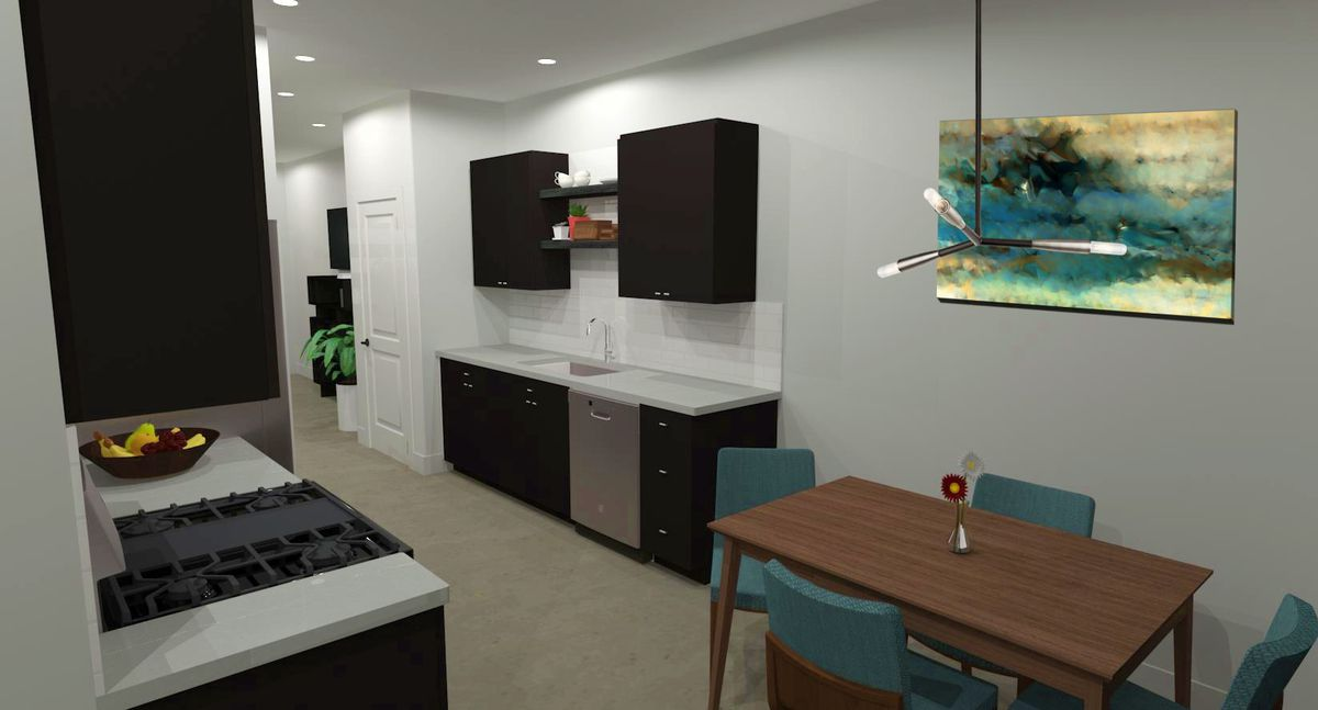 Black cabinets above stove top and a nearby little dining nook