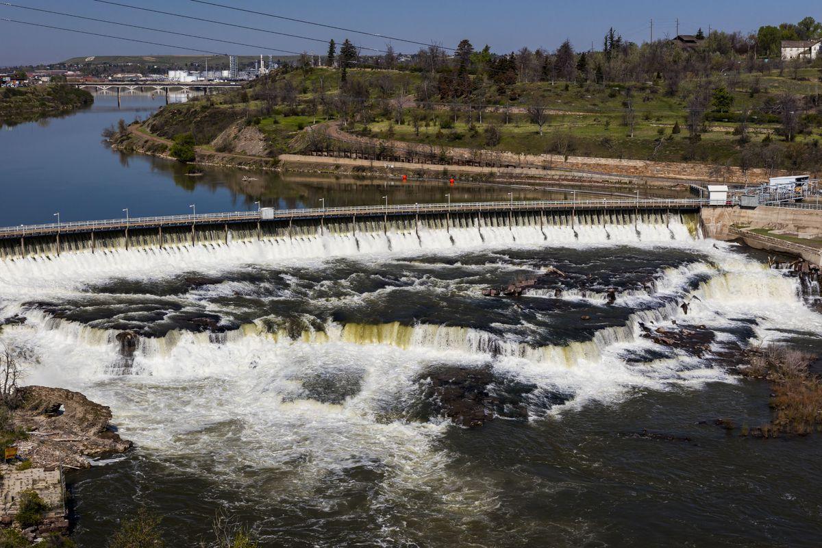Black Eagle Dam of the Great Falls of the Missouri River, Great Falls, Montana