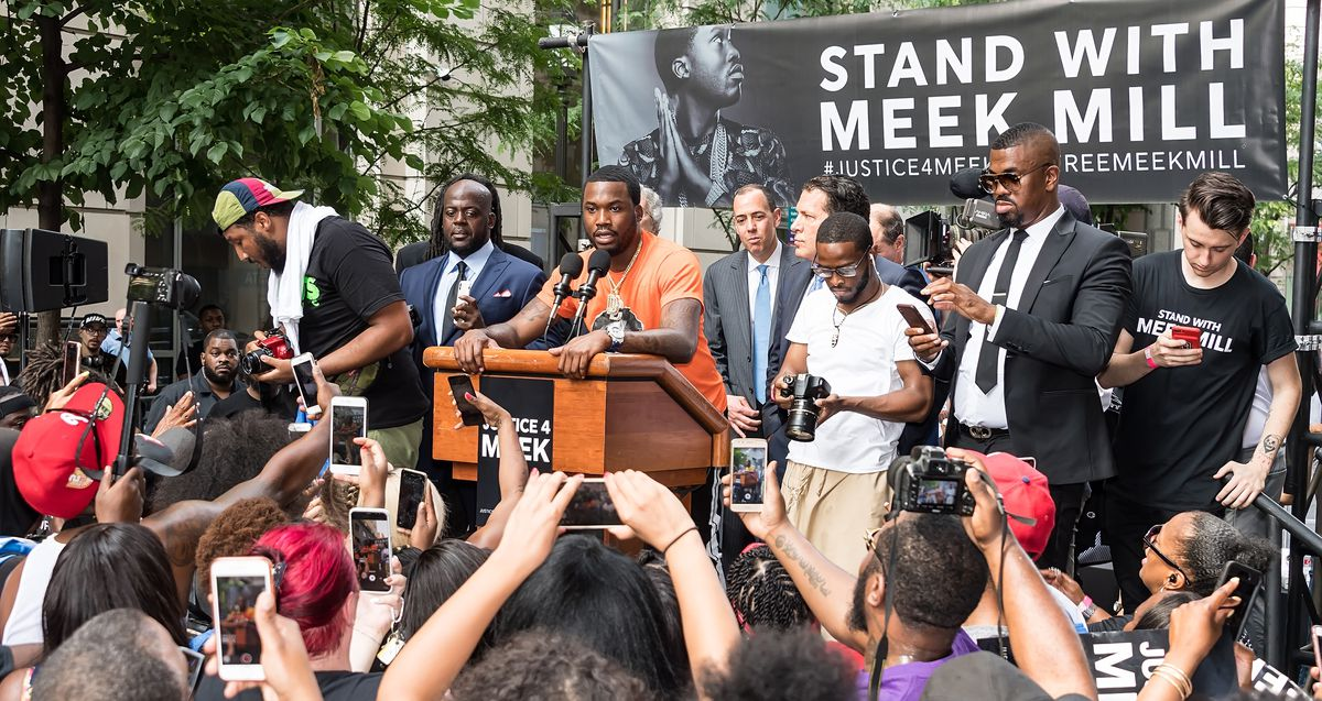 Meek Mill speaks to supporters during a Stand with Meek Mill rally in Philadelphia on June 18, 2018.