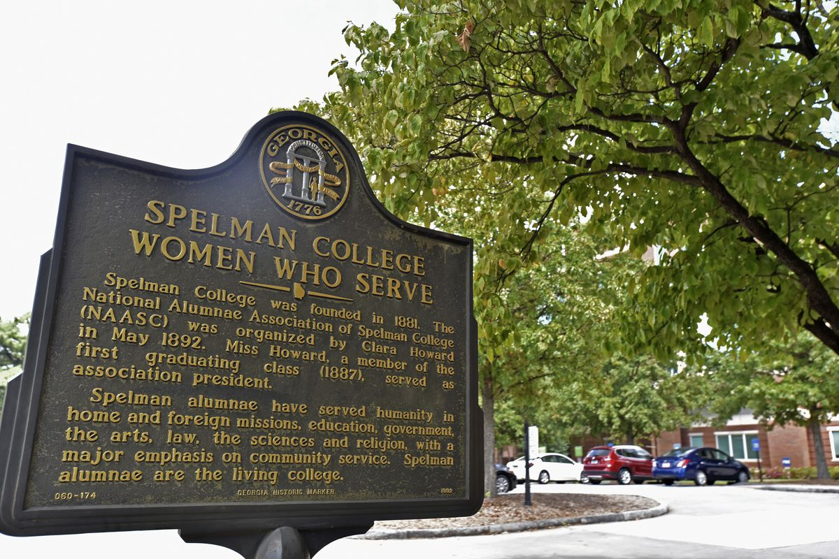 A sign is displayed at Spelman College on Sept. 26, 2018, Atlanta.