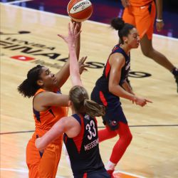 The Washington Mystics take on the Connecticut Sun in Game 3 of the WNBA Finals at Mohegan Sun Arena in Uncasville, CT on October 6, 2019.