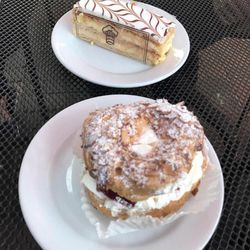 """Deseret News A&E reporter Michelle Bulsiewicz called Gourmandise's mille-feuille (top) not """"bad, but far from the best treat of the night"""" and their strawberry ring (bottom) the """"the surprise knockout hit of the dessert crawl."""""""