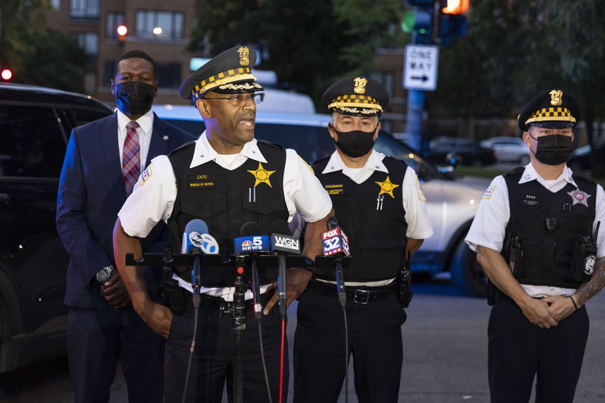 Deputy Chief Ernest Cato addresses the media regarding the recent shooting that happened minutes from each other at the corner of W Douglas Blvd and S Ridgeway Ave in Lawndale, Wednesday, July 21, 2021. | Anthony Vazquez/Sun-Times