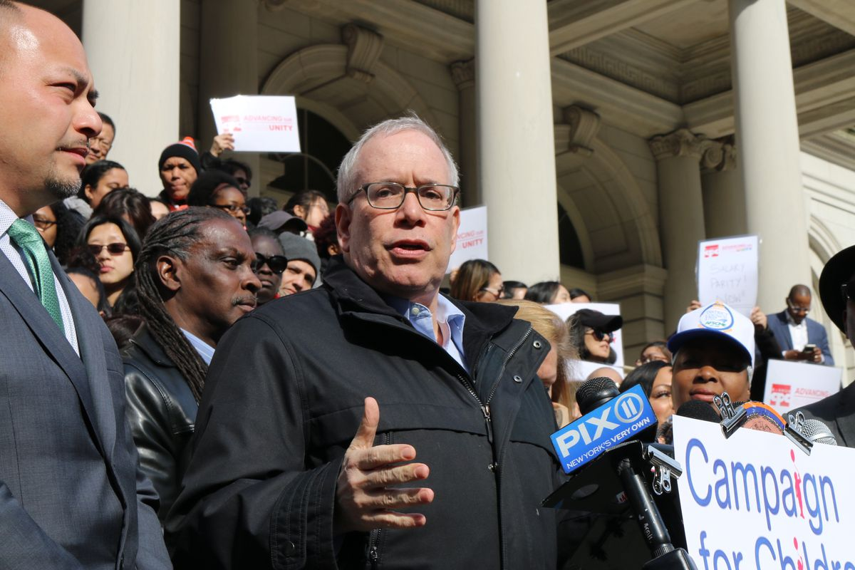 Comptroller Scott Stringer speaks at a rally at City Hall in March 2019.