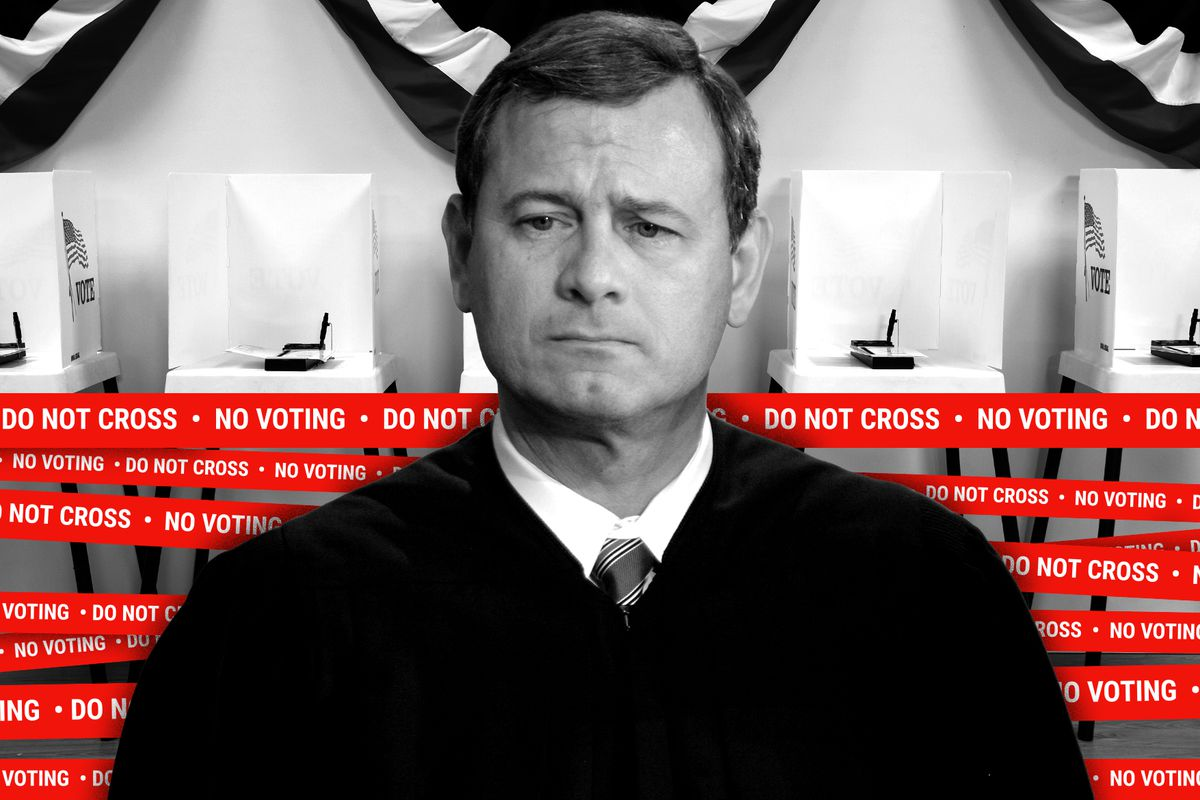 "Chief Justice Roberts standing in front of a polling place. The polling place is wrapped in tape that reads ""Do Not Cross. No Voting."""