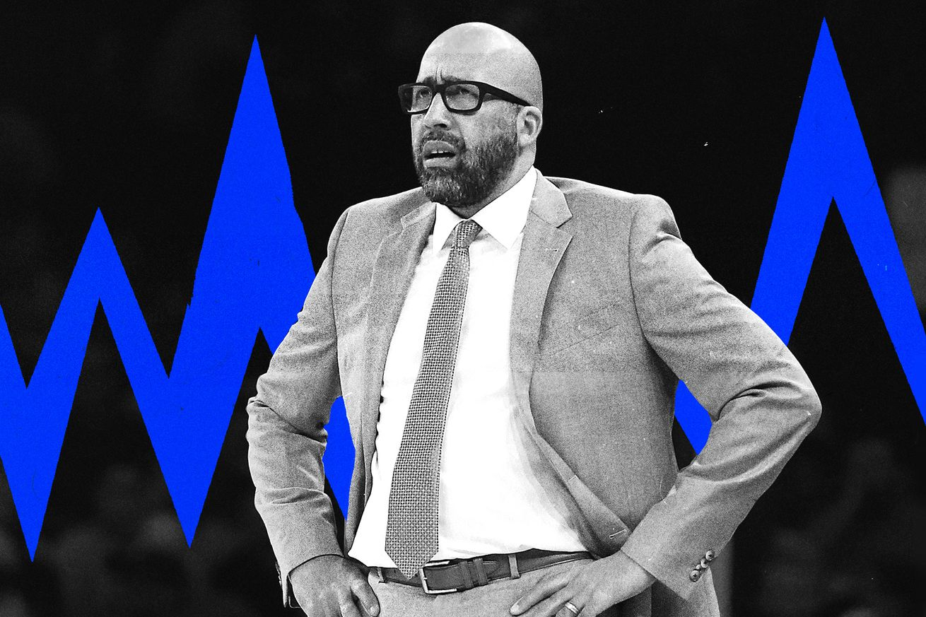 Knicks coach David Fizdale looks disgusted and is on top of an illustrated background.