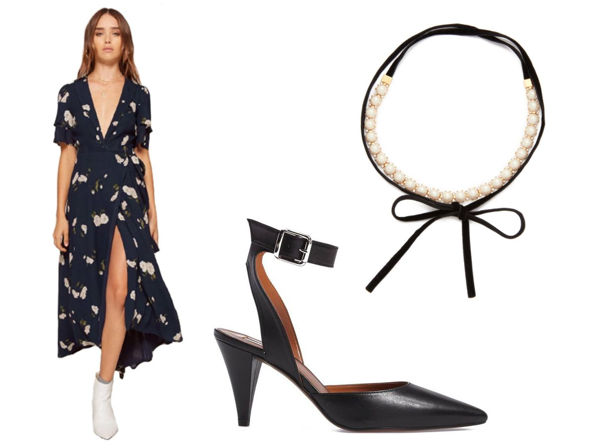 Reformation Layley Dress, $248. Topshop Jessa Ankle Strap Pump, $110. Kate Spade New York Girls in Pearls Choker, $90.